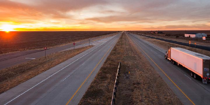Trucks on the open road stock photo